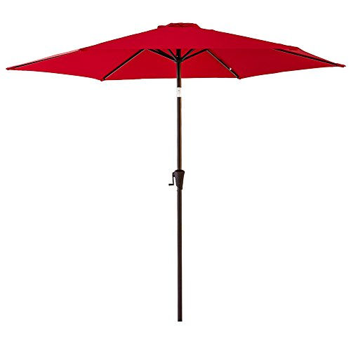 FLAME&SHADE 9 feet Round Market Patio Umbrella with Crank Lift, Push Button Tilt, Red