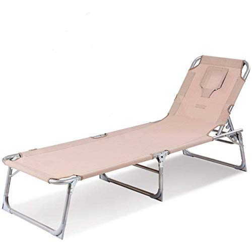 Goplus Adjustable Chaise Lounge Chair Recliner w/Sunbathing Tanning Face Down Hole for Beach Outdoor Pool Patio Deck (Without Pillow) For Sale