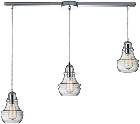 Elk 60057-3L Menlow Park 3-Light Pendant, 36 by 9-Inch, Polished Chrome Finish