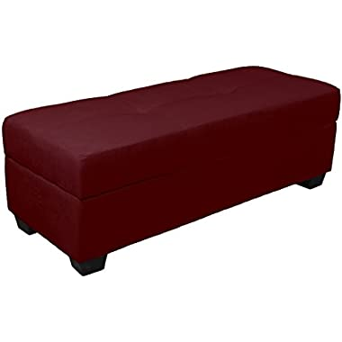 Epic Furnishings Vanderbilt Loveseat Tufted Padded Hinged Storage Ottoman Bench, Microfiber Suede Wine Red
