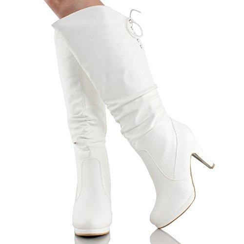 Top Moda Damen Kniehohe Stiefel mit Schnürung Weiß Win-40