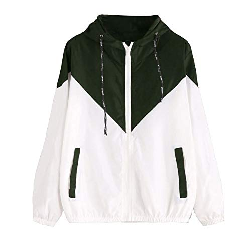Color Hoodie Sleeves Green Long Coat Deep Mujeres Drawstring Patchwork Zipper Block Pocket Z6wxnIZrq