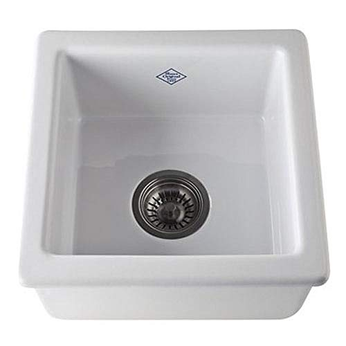 (Rohl RC1515WH FIRECLAY KITCHEN SINKS, 15-Inch by 15-Inch by 7-17/32-Inch, White)