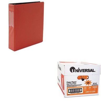KITUNV21200UNV34416 - Value Kit - Universal Suede Finish Vinyl Round Ring Binder With Label Holder (UNV34416) and Universal Copy Paper (UNV21200)