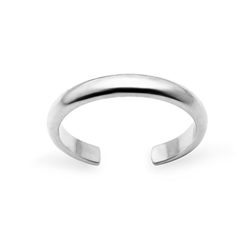 Sterling Silver High Polished Plain Simple Adjustable Toe Ring