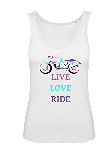 Live Love Ride women girl ladies biker motorcycle tank top vest tshirt tee