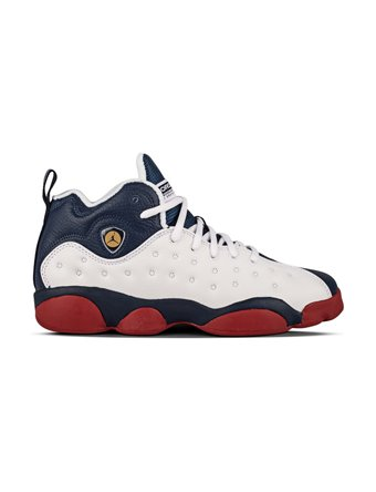 Jordan JUMPMAN TEAM II BG boys basketball-shoes 820273-146_6Y - White/Mid Navy-Gym Red-Metallic Gold by Jordan