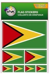 Guyana Country Flag Set of 7 Different Size Collection Decal Stickers ... New in Package ()