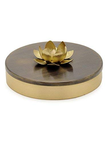 Samagridan - Handcrafted Brass Spice Organizer with Lotus, Spice/Condiments Container, Multi-purpose Utility, Perfect House Warming Item & Bridal