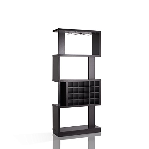 Wine Bar Cabinet Rack Room Divider 4 Tier Shelves Glass Bottle Holders