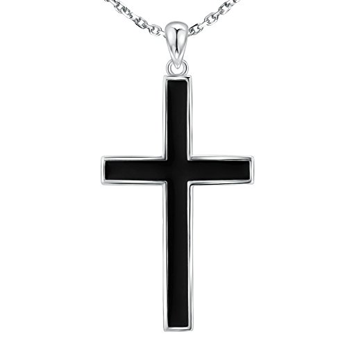 - Simple Classic Cross Necklace 925 Sterling Silver Charm Pendant Jewelry for Men