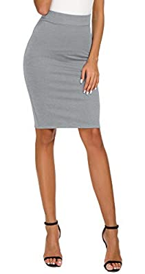 EXCHIC Women's High Waist Bodycon Midi Pencil Skirt