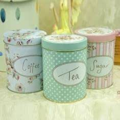 Large Size cylindrical Can Eight Style Tea & Coffee Iron Tin