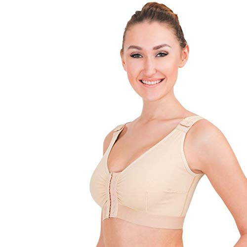 (Women's Cotton Front Hooked Liposuction Compression Bra for Post Operation with Front and Strap Closure. Postpartum Breast Feeding,Nursing (XXL) Beige)