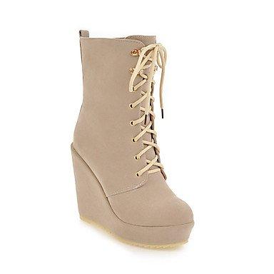 RTRY Zapatos De Mujer Moda Otoño Invierno Polar Botas Botas De Tacón Cuña Botines/Botines De Casual Beige Marrón Negro US5 / EU35 / UK3 / CN34