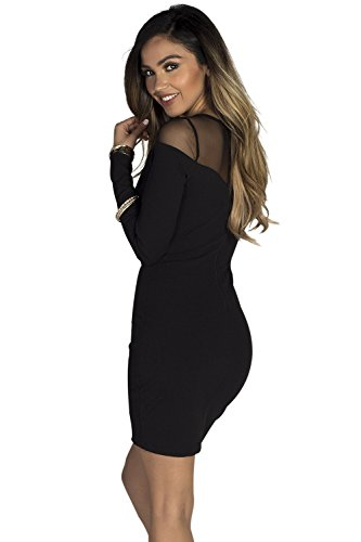 Dress Cut Sweetheart Sleeve s Society Women Out Mesh Babe Black Long c1zFZq