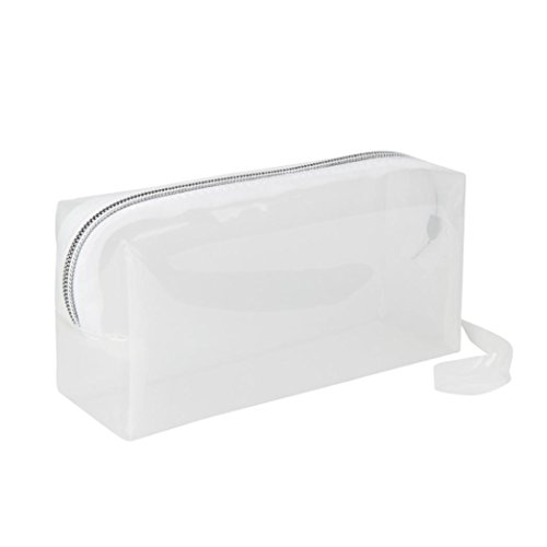 Outtop Cute Clear Pen Pencil Case Holder Makeup with Zipper for Boys Girls (Clear Pencil Case)