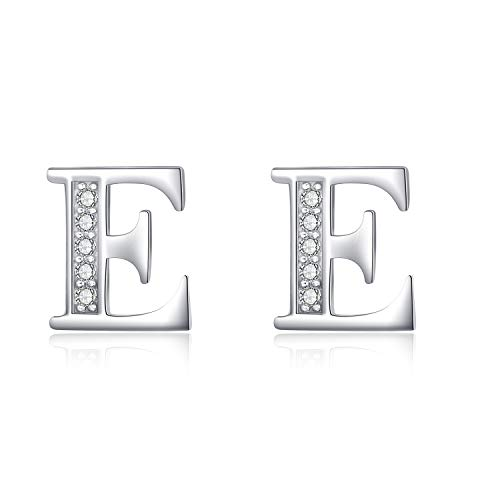 (YFN S925 Sterling Silver Cubic Zirconia 26 Initial Letters Alphabet E Stud Earrings for Women Teen Girls(Alphabet E Stud Earrings))