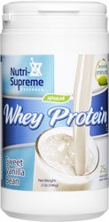 Nutri- Supreme Research Whey Protein Powder Dairy Cholov Yisroel Sweet Vanilla Bean Sweetened with Erythritol and Stevia - 2 Lb - 25 ()