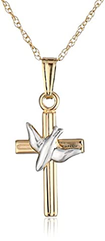 14k Gold Two-Tone Children's Embossed Cross Pendant Necklace with Holy Spirit (Girls Cross Necklace White Gold)