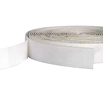 White BQS 1 Width Self Adhesive Hook and Loop Sticky Back Tape Fastener 16 feet