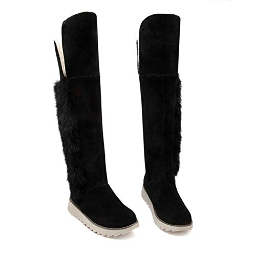 TANGOGO Women's Winter Snow Boots Ladies Suede Fashion Flat Heels Knee High Boots Fur Snow Shoes