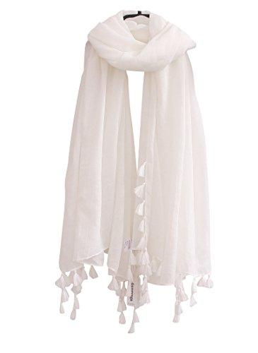 Women Lightweight Spring Solid Scarf - White Thin Long Wrap Shawl Tassel Fringe (Lightweight Scarf)