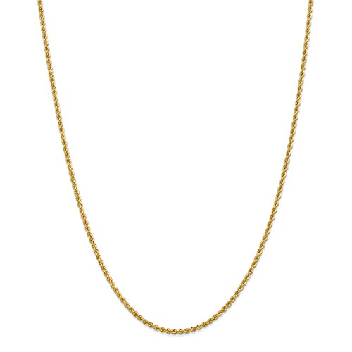 Roy Rose Jewelry 14K Yellow Gold 2.25mm Handmade Regular Rope Chain Necklace ~ Length 16'' inches - 16' Regular Rope Chain