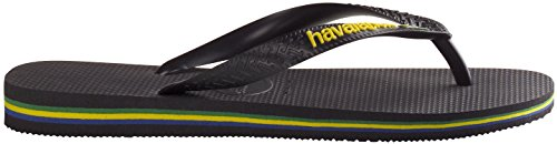 Flops Mens 10 Havaianas 43 44 Brasil 9 UK Boys Unisex BRA Black Flat Flip Logo 0gR41qx
