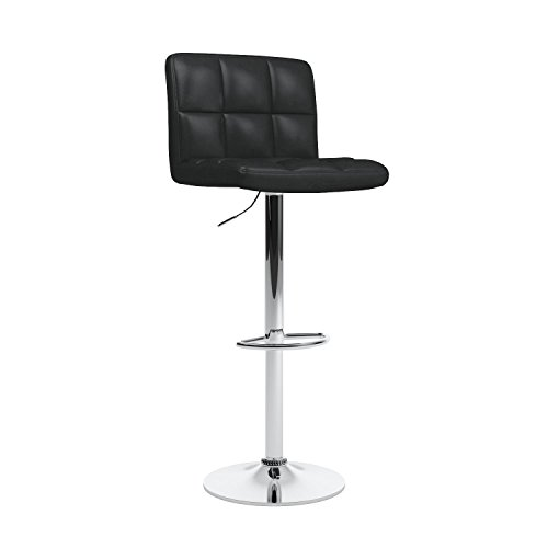 Roundhill Furniture Swivel Black Bonded Leather Adjustable Hydraulic Bar Stool Set Of 2 Buy