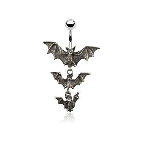 14G Gothic Tri-Vampire Bats Dangle Navel ()