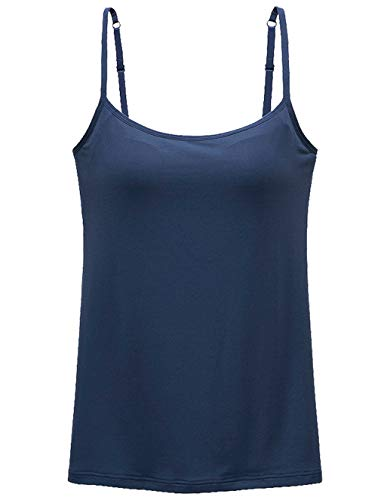 Womens Tank Tops Adjustable Strap Camisole with Built in Padded Bra Vest Cami Sleeveless Top for Yoga Daily Wearing Navy M