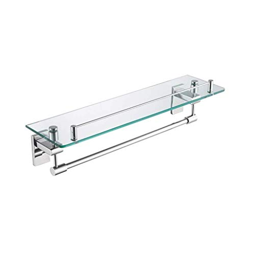 (NYDZDM Bathroom Glass Shelf, 1 Tier Makeup Rack with Towel Bar, Wall-Mounted Kitchen 304 Stainless Steel Shelves, 18.5''×5.1''×5.1'')