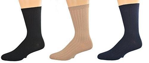 Sierra Socks Unisex Big Boys Girls Classic Dress Uniform Ribed 3 Pair Pack Crew Socks K263 3007 (Sock Size S, Shoe Size 9-1, ASSORTED(Black/Navy/Khaki)) (Classic Sock Rib Dress)