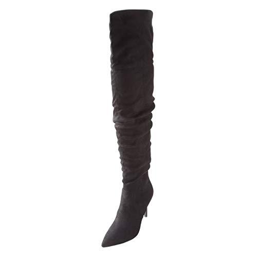 (Brash Black Suede Women's Trinity Thigh High Boot 10)