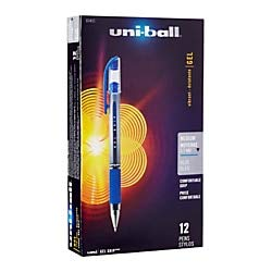 uni-Ball Gel Grip Pens, Medium Point, 0.7 mm, Clear Barrel, Blue Ink, Pack of 12