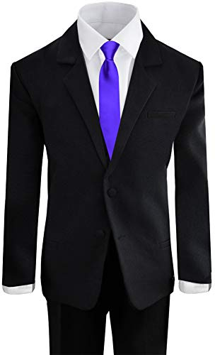 Black N Bianco Boys Formal Black Suit with Shirt and Vest (10, Black with Purple Tie)