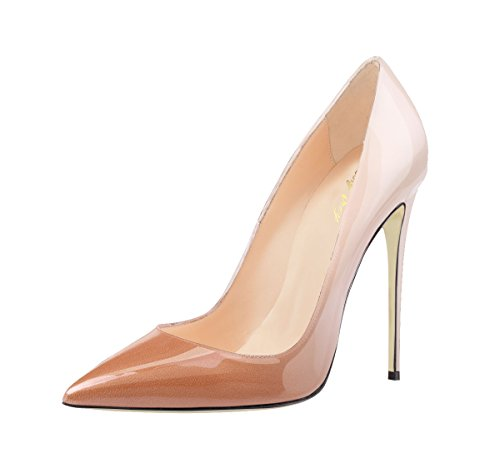 SexyPrey Women's Pointy Toe Stiletto Heels Plus Size Gradient Color Court Shoes for Party Wedding Nude and Brown 4C3psxVTL