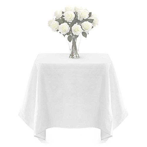 Lann's Linens - PREMIUM WEIGHT Polyester Tablecloth - for Wedding, Restaurant or Banquet Use - 54 in. x 54 in. Square, White