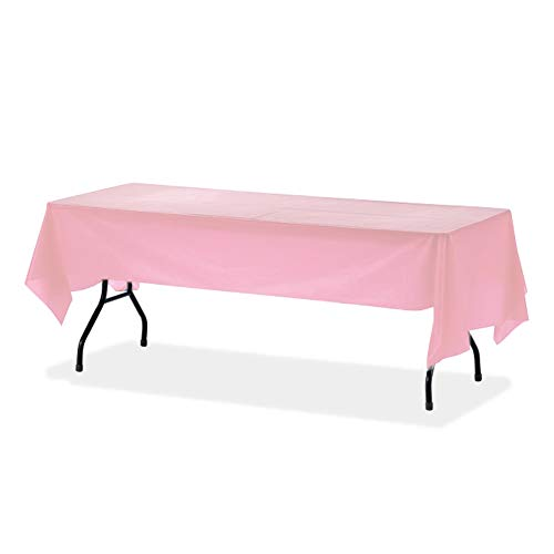 Orangehome 12-Pack Plastic Table Cloth 54 x 108 IN Rectangle Table Cover Wedding Birthday Party Disposable Table Cloth (Pink)]()