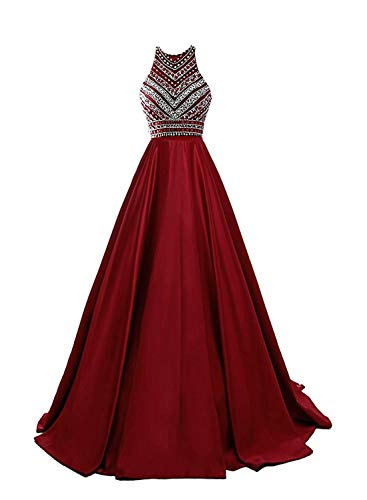 (HEIMO Women's Sequins Evening Party Gowns Beading Formal Prom Dresses Long H187 16 Burgundy)
