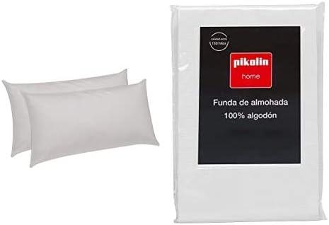 Pikolin Home Pack de 2 Almohadas de Fibra, con Tratamiento Aloe Vera, firmeza Baja, 40x75cm (Todas Las Medidas) + Funda de Almohada cutí, 100% algodón satén, 40x75cm (Todas Las Medidas)