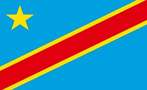 (Congo Democratic Rep Kinshasa Zaire New Flag 5ft x 3ft Large - 100% Polyester - Metal Eyelets - Double Stitched)