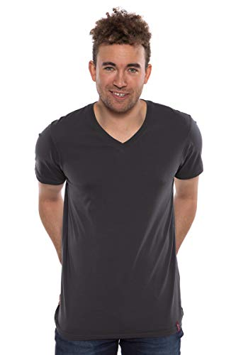 Texere Men's V-Neck T-Shirt (Frissell, Dark Shadow, S) Organic Pima Cotton Top