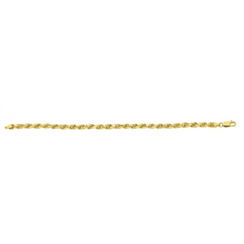 DIAMANTLY Bracelet or 750 corde frappe L. 19.0 cm