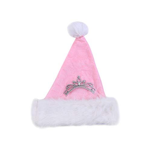 BESTOYARD Christmas Hat Pink Plush Santa Hat for Kids Child