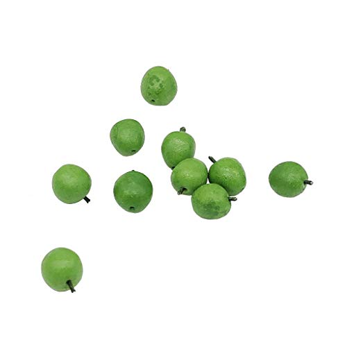 CreazyBee 10Pcs 1:12 Dollhouse Miniature Fruit Green Apple Kitchen Dining Model Play Toy (Green)