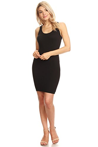 Casual Sexy Racer-Back Mini Bodycon Dress/Made in USA Black ()