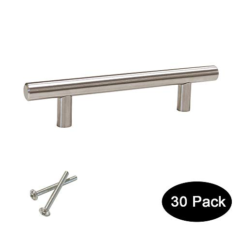 30 pack 96mm(3.75inch) Hole Centers Stainless Steel Kitchen Cabinet Door Handles and Pulls Cabinet Knobs Length 150mm(6inch) Brushed Nickel
