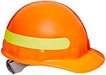 Fibre-Metal by Honeywell SuperEight Thermoplastic Cap-Style Hard Hat with 8-Point Ratchet Suspension, Hi-Viz Strong Orange with Yellow Reflective Tape